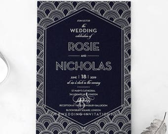 Luxurious Gatsby Foil Stamped Wedding Invitation - IWF16068-GB-MS