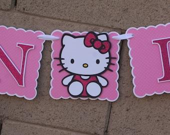Hello Kitty Birthday Banner. Kitty Cat. Hot Pink and  Glitter.