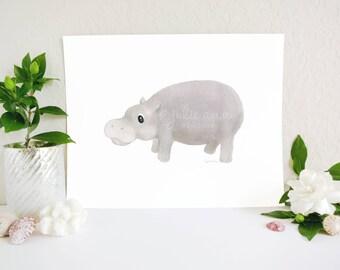 Hippo Art Print, Hippopotamus Art, Hippo Nursery Decor, Jungle Nursery, Zoo Nursery, Safari Nursery Print, Safari Decor, Baby Room Art Print