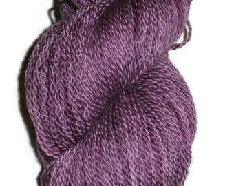 Handdyed Bluefaced Leicester Wool Sock Yarn,  2-Ply Last Eggplant.