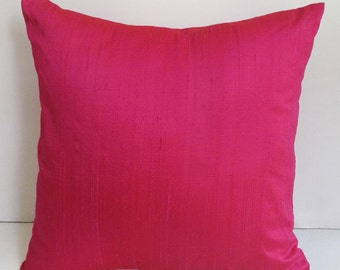 Hot pink dupioni silk pillow cover silk throw pillow. Decorative Room decor. Living room Cushion.   custom  made  pillow  cover  18inch.