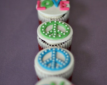 Peace Sign and Love Fondant Toppers for Decorating Groovy Cupcakes, Cookies or other Treats