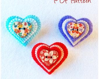 Heart Button Brooch Pin pdf Pattern