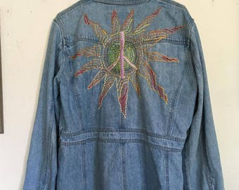 Unique sun peace sign embroidered jacket