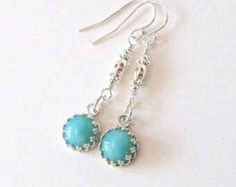 Amazonite Earrings Sterling Silver Filigree Dangle, Ear Wire Options
