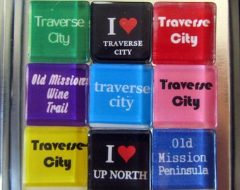 TRAVERSE CITY Michigan - Up North Michigan Magnets Set, Northwest Michigan Souvenir