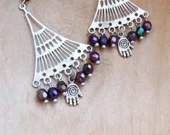 Oriental Hamsa Earrings Crystals and Metal