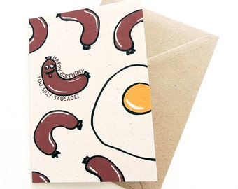 Silly Sausage Birthday Card | Happy Birthday Greetings Card for Kids (or Big Kids!) | Illustrated Breakfast Sausages & Eggs