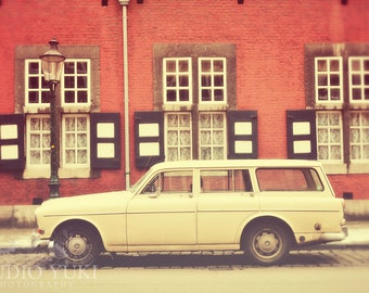 Retro Art Print, Vintage Car Photography, Old Volvo, Travel Photo, 8x12, Pink, Red House, City Street, Urban, Pale - Angel Lace