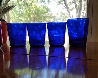 4 Cobalt Blue Glass Tumblers