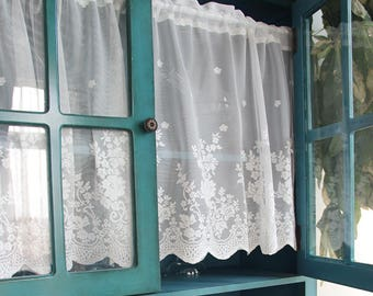 Pair Of Shabby Chic French Country Style Fairy Tale White Rod Pocket Rose  Lace Sheer Cafe Curtain, Kitchen Curtain