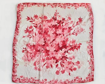 Vintage 1950s Pink Rose and Beige Chiffon Floral Handkerchief/Scarf