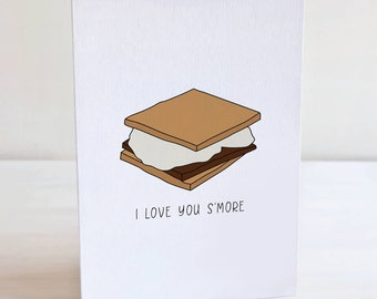 I Love You S'more Greeting Card, I Love You Card, Valentines Day Card, S'more  Lovers Card