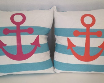 Nautical Anchor Beach Summer Boat Pillow-Navy/Gold/Coral/Pink/Silver/Pillow Cover/Navy Coastal Blue Stripe/Choose Color One Cover/18 x 18