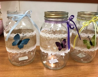 Butterfly Mason Jars with Fairy Lights