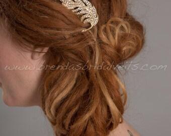 Gold Rhinestone Feather Hair Comb, Wedding Headpiece - Ramona