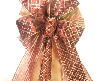 Copper Bow, Bronze Bow, Brown Bow, Christmas Bow, Christmas Tree Bow, Christmas Tree Topper Bow