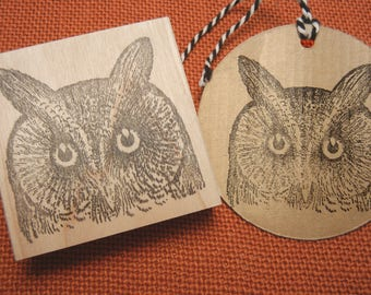 Screech Owl Rubber Stamp / Bird Rubber Stamp - Handmade by Blossom Stamps