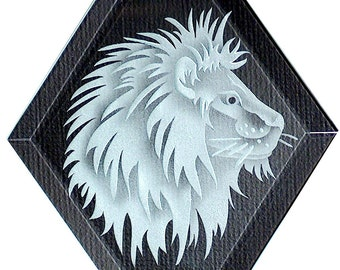 Carved Glass Lion Hanging Suncatcher