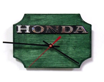 Honda Wall Clock - Recycled Honda Emblem - Auto Decor