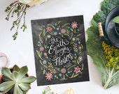 The Earth Laughs in Flowers - Spring Decor - Flower Art - Chalk Art - Spring Art - Garden Print - Chalkboard Print - Chalkboard Decor