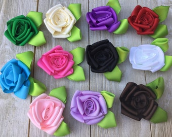 New-FLOWERS-GROSGRAIN ROSES with leaves-2.5-you choose color