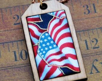 American Flag Mini Tag Pendant Necklace - fabric wood patriotic
