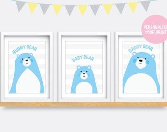 Set of 3, Personalised Bear Family Prints, Baby and Toddler Fairytale, A4/A5 - Free UK Delivery