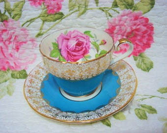 Beautiful Vintage Turquoise Blue AYNSLEY ROSE with Fleur de Lis Filigree Cup & Saucer.