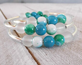 Blue Bracelet, Blue Memory Wire Bracelet, Blue Stacked Bracelet, Blue Wrap Bracelet, Blue Cuff Bracelet, Blue and White Bracelet