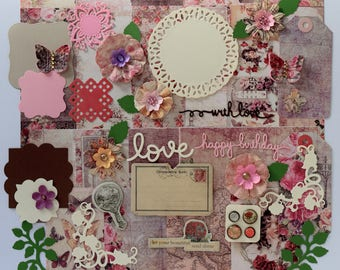 Prima Tales of You and Me Scrapbooking Paper and Embellishment Kit, Scrapbook kit, Inspiration kit, Vintage scrapbook kit, Cardmaking kit