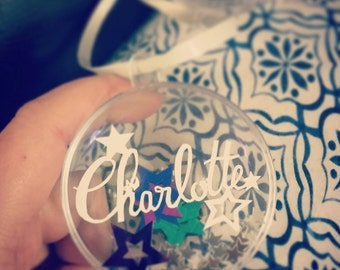 Personalised papercut baubles - name Christmas decorations - pet decorations -snowflake, star or paw -