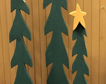 """Primitive Wood Tree Christmas Decor 67"""" tall , Holiday Decoration Slim Tree Ornament with Star for Home or Porch."""