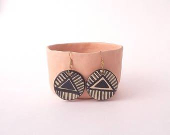 Black triangle and lines EARRINGS, round ceramic earrings, handmade, hand painted ceramic earrings, boho,minimalist earrings.