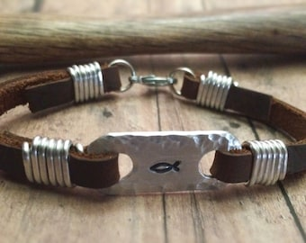 Christian Fish Bracelet, Jesus Fish Bracelet, Christian Bracelet, Confirmation Bracelet, First Communion Bracelet, Baptism, Ichthys Bracelet