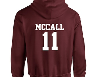 Scott McCall Inspired Wolf Teen Beacon Hills Lacrosse Adult Hooded Sweatshirt With Print on Rear Only Hoodie