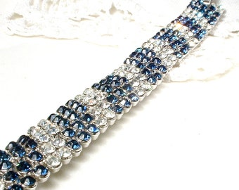 PRiSTiNe TRIFARI Art Deco Sapphire Rhinestone Bracelet, Bridal Bracelet, Silver Wide Navy Blue, 1920 Vintage Wedding Hollywood Glam Modern