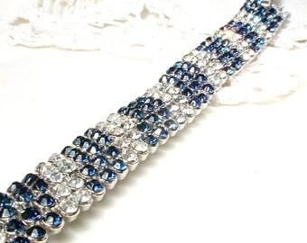PRiSTiNe TRIFARI Art Deco Sapphire Rhinestone Bracelet, Bridal Bracelet, Silver Wide Navy Blue, 1920 Vintage Wedding Hollywood Glam Modern