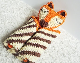 Crochet Fox Baby Lovey Blanket - Fox Security Blanket - Baby Shower Gift - Gift for Baby - Crochet Fox Toy