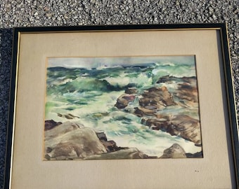 Listed Artist LIZETTE KOCH Original Seascape Watercolor Painting Rough Ocean Maine Wall Hanging Wall Art