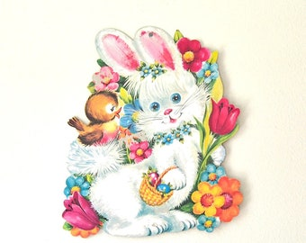 vintage Easter wall decor Easter die cut bunny bird flowers cardboard wall decor