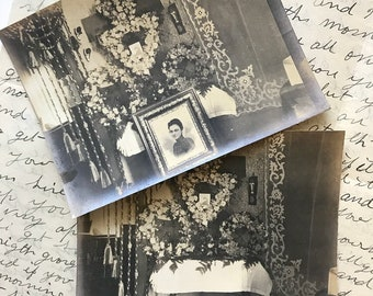 Two early Edwardian parlor funeral flower arrangement photos for deceased woman | late Victorian memorial mourning flowers photographs
