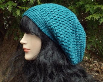 Teal Slouch Beanie, Womens Slouchy Crochet Hat, Chunky Hat, Oversized Slouchy Beanie, Blue Baggy Beanie, Winter Slouchy Hat