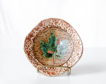 Green Maple Leaf Bowl, Stoneware Pottery, Nature Art, Footed Bowl, Coffee Table Dish, Wisconsin Art, Maple Tree, Woodland Art, Forest Art