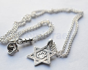Star of David pendant+Hamsa with chain + 40 cm of silver 925