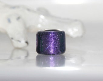 Purple and Black Dichroic Glass Dread Bead with 5.5mm hole