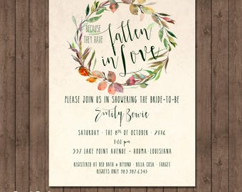 Fall in Love Bridal Shower Invitation, Because they have fallen in love bridal shower, Fall Leaves, Fall leaves wreath invitation