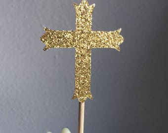 12 Gold Cross Cupcake Toppers Cake Decorations Wedding First Holy Communion Baptism Confirmation
