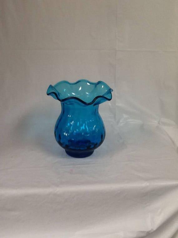 Blenko Glass Hand Blown Vase Dot Optic Ruffled Top 707 In