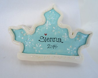 Personalized Frozen Princess Crown Ornament